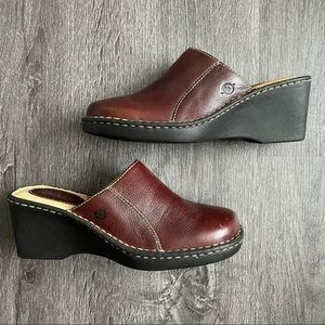 EUC  Brown Leather Slip On Square Toe Clogs Shoes